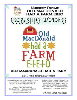 Cross Stitch Wonders Marcia Manning A Nursery Rhyme - OLD MACDONALD HAD A FARM Cross stitch pattern