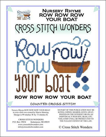 Cross Stitch Wonders Marcia Manning A Nursery Rhyme - ROW ROW ROW YOUR BOAT Cross stitch pattern