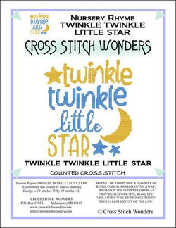 Cross Stitch Wonders Marcia Manning A Nursery Rhyme - TWINKLE TWINKLE LITTLE STAR Cross stitch pattern