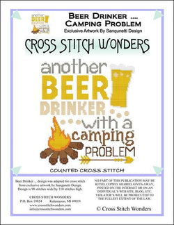 Cross Stitch Wonders Marcia Manning Beer Drinker ... Camping Problem Cross stitch pattern