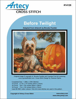 Artecy Before Twilight dog halloween cross stitch pattern