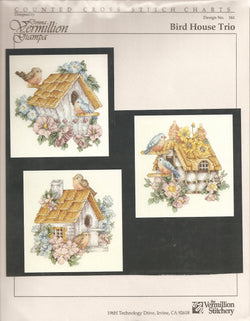Vermillion Society Bird House Trio 161 cross stitch pattern