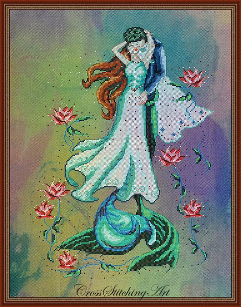 Cross Stitching Art Blooming Couple fashion fantasy cross stitch pattern