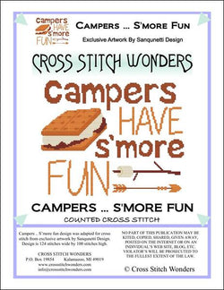 Cross Stitch Wonders Marcia Manning Campers Have S'more Fun Cross stitch pattern