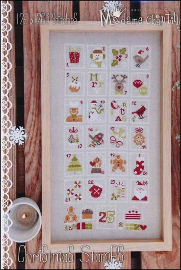 Madame Chantilly Christmas stamps cross stitch pattern