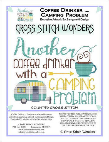 Cross Stitch Wonders Carolyn Manning Coffee Drinker ... Camping Problem Cross stitch pattern