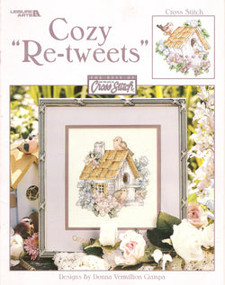 Leisure Arts Cozy Re-tweets bird house cross stitch pattern