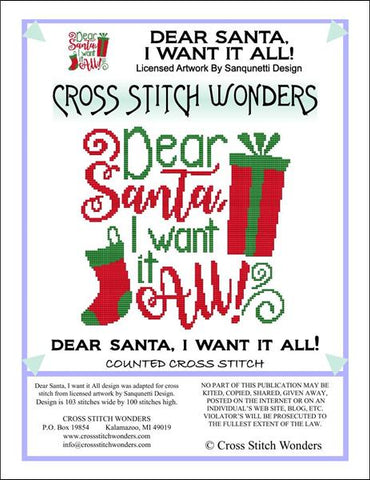 Cross Stitch Wonders Marcia Manning Dear Santa I Want It All Cross stitch pattern