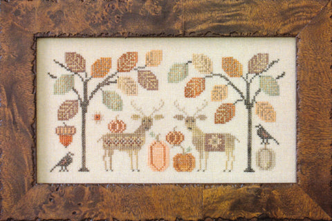 Plum Street Samplers Deer Friends cross stitch pattern