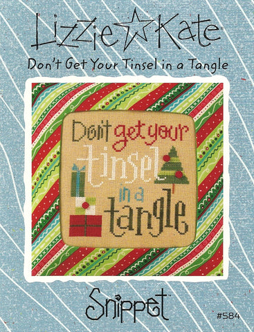 Lizzie Kate Snippet Don't get your tinsel in a tangle S84 Christmas cross stitch pattern