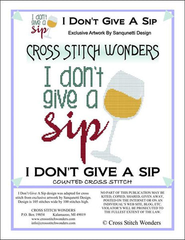 Cross Stitch Wonders Marica Manning Don't Give A Sip Cross stitch pattern
