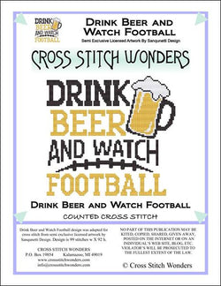 Cross Stitch Wonders Carolyn Manning Drink Beer and Watch Football Cross stitch pattern