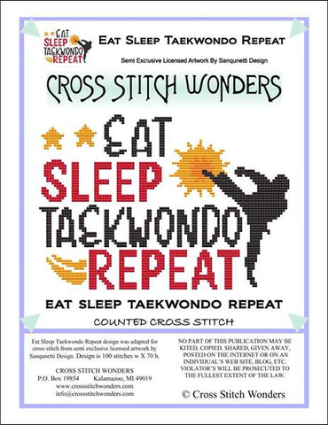 Cross Stitch Wonders Carolyn Manning Eat Sleep Taekwondo Repeat Cross stitch pattern