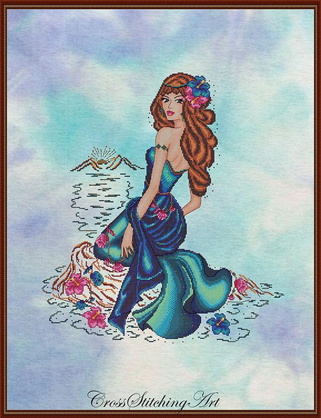 Cross Stitching Art Enchanted Sunset fashion fantasy cross stitch pattern