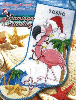 Stoney Creek Flamingo Stocking LFT488 Christmas cross stitch pattern