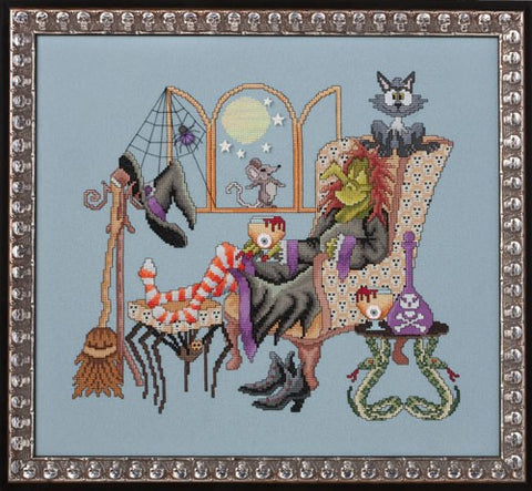 Glendon Place Come sit a spell GP-181 Halloween cross stitch pattern