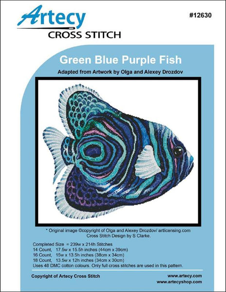 Artecy Green Blue Purple Fish cross stitch pattern