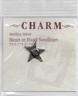 Heart in hand Heart on star sterling silver charm HIHCH2