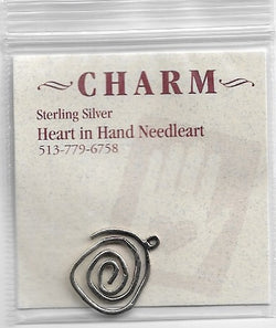 Heart in Hand Large Swirl sterling silver charm