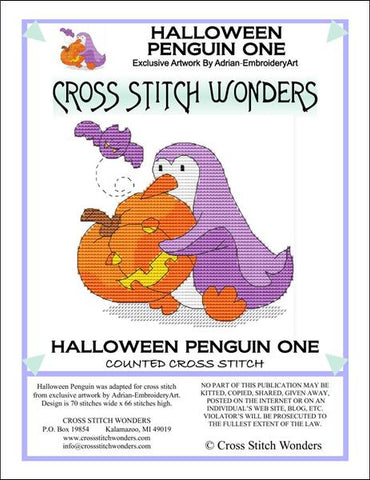Cross Stitch Wonders Marcia Manning Halloween Penguin One Cross stitch pattern
