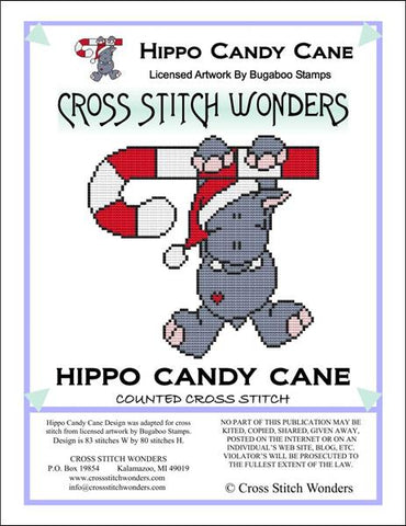 Cross Stitch Wonders Carolyn Manning Hippo Candy Cane Critter Christmas Cross stitch pattern
