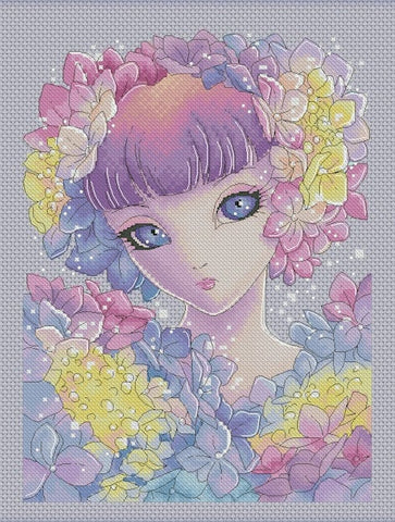 Lena Lawson Hydrangea Fairy cross stitch pattern
