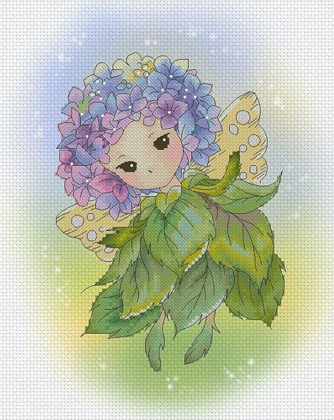 Lena Lawson Hydrangea Sprite cross stitch pattern