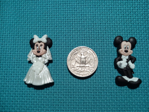 Mr & Mrs Mickey and Minnie mouse cross stitch needle minders