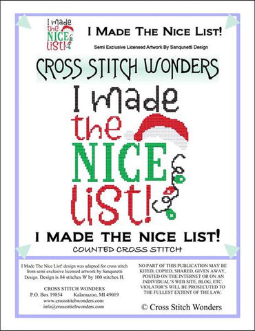 Cross Stitch Wonders Carolyn Manning I Made The Nice List Christmas Cross stitch pattern