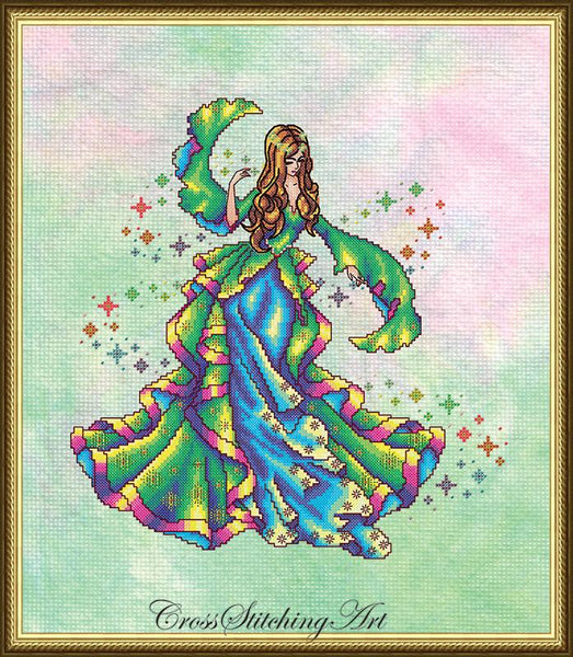 Cross Stitching Art Iris, The Rainbow Maiden fashion fantasy cross stitch pattern