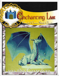 Enchanting Lair Lans the Guardian Dragon fantasy cross stitch pattern