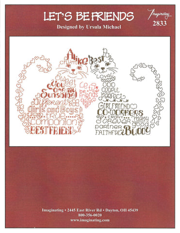 Imaginating Let's Be Friends 2833 cat kitten cross stitch pattern