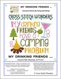 Cross Stitch Wonders Marcia Manning My Drinking Friends ... Camping Problem Cross stitch pattern