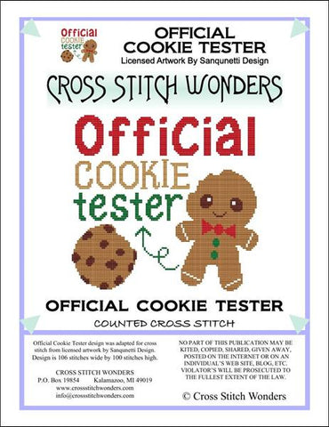 Cross Stitch Wonders Marcia Manning Official Cookie Tester Cross stitch pattern