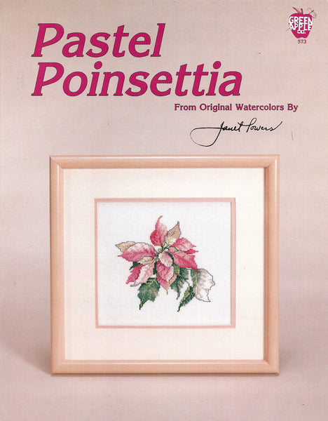 Green Apple Pastel Poinsettia flower cross stitch pattern