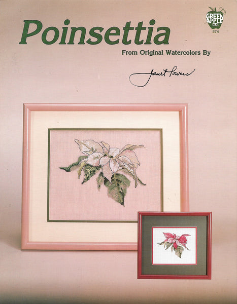Green Apple Poinsettia flower cross stitch pattern