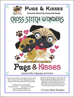 Cross Stitch Wonders Marcia Manning Pugs & Kisses Cross stitch pattern