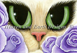 Heaven and Earth Designs QS Lavender roses cross stitch pattern