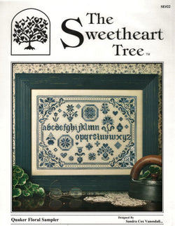 Sweetheart Tree Quaker Floral Sampler cross stitch pattern SE#22