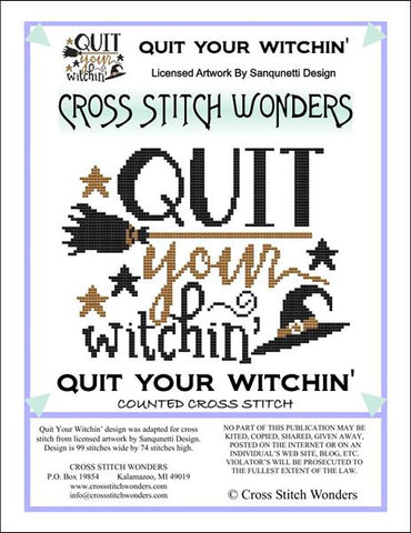 Cross Stitch Wonders Marcia Manning Quit Your Witchin Cross stitch pattern