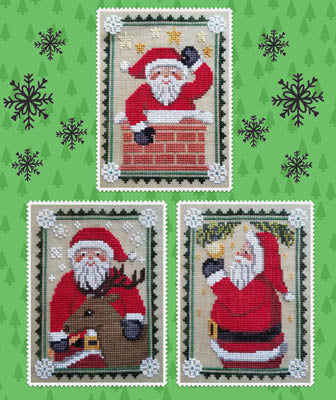 Waxing Moon Santa Trio Christmas cross stitch pattern