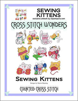 Cross Stitch Wonders Marcia Manning Sewing Kittens Cross stitch pattern