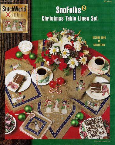 StitchWorld X-Stitch SnoFolks 2 Christmas Table linen set cross stitch pattern