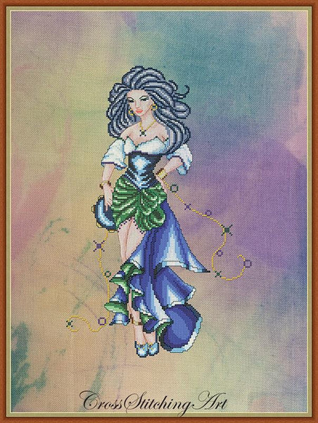 Cross Stitching Art The Dance Of Esmeralda fashion fantasy cross stitch pattern