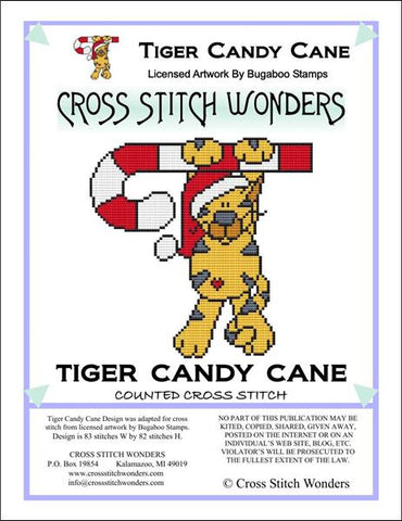 Cross Stitch Wonders Carolyn Manning Tiger Candy Cane Critter Christmas Cross stitch pattern