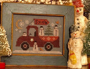 Homespun Elegance Traveling Snowmen Truck winter cross stitch pattern