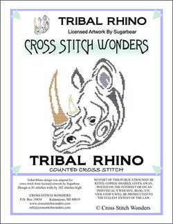 Cross Stitch Wonders Marcia Manning Tribal Rhino Cross stitch pattern