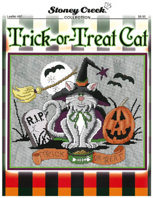 Stoney Creek Trick-or-treat Cat LFT497 halloween cross stitch pattern