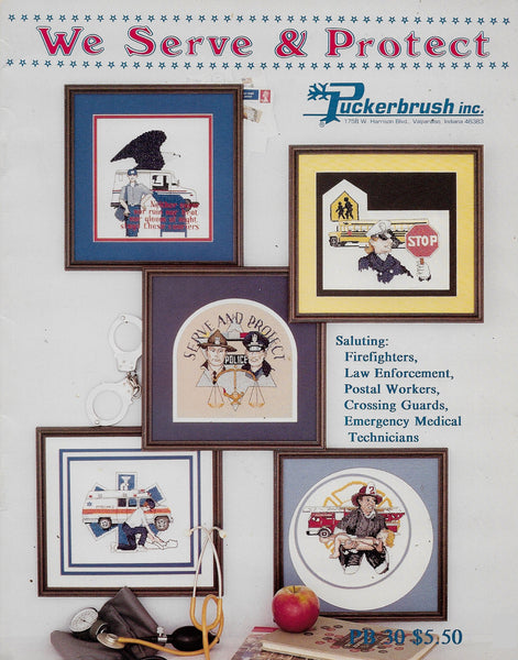 Puckerbrush We Serve & Protect cross stitch pattern