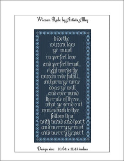Artist Alley Wiccan Rede cross stitch pattern